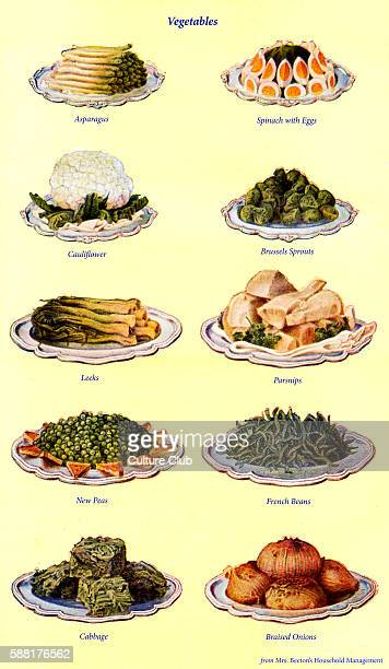 Mrs Beeton s cookery book vegetables Asparagus Spinach with eggs Cauliflower Brussel sprouts New peas French beans Cabbage Braised onions New edition...