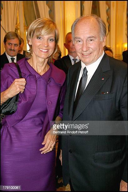 Mrs Bernard Arnault and Prince Karim Aga Khan at Christine Albanel Presents The Grand Patron And Grand Donor Award To His Highness The Aga Khan At...