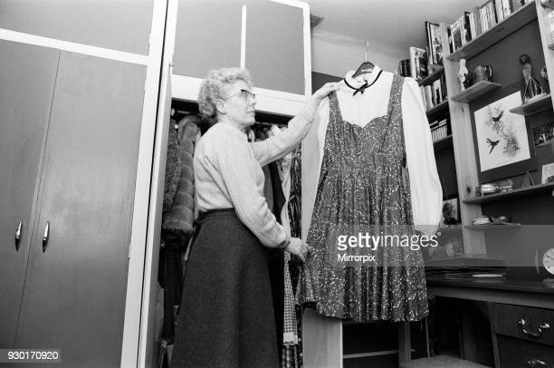 Mrs Beryl Leach, mother of Yorkshire Ripper victim Barbara Leach, pictured in Barbara's room with her first dance dress, at her home in Kettering,...