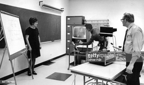 Mrs Beverly Shearer training assistant E L Blakley center and Dave Knutson supervisor use such aids as closedcircuit TV to insure that Voice With a...