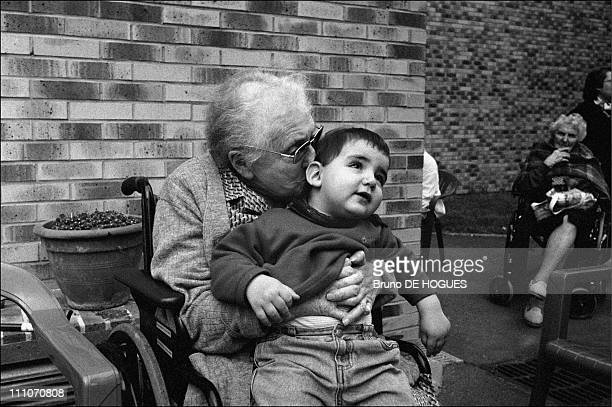 """Mrs Buisson at """"Sacred heart"""" Retirement home in Gentilly, France on September 01, 1998."""