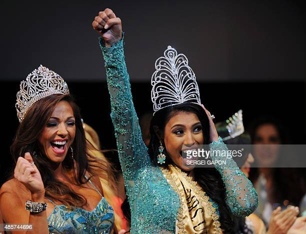Mrs Canada Ashley Burnham celebrates after being crowned Mrs Universe during the Mrs Universe 2015 pageant final in Minsk on August 29 2015 AFP PHOTO...