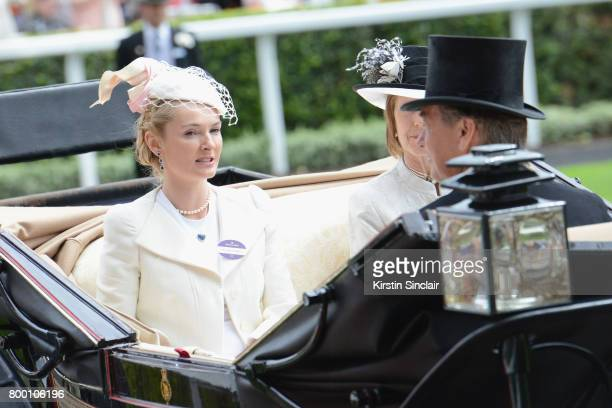 Mrs Charles Butter and Mrs David BowesLyon arrive in the Royal Procession on day 4 of Royal Ascot 2017 at Ascot Racecourse on June 23 2017 in Ascot...