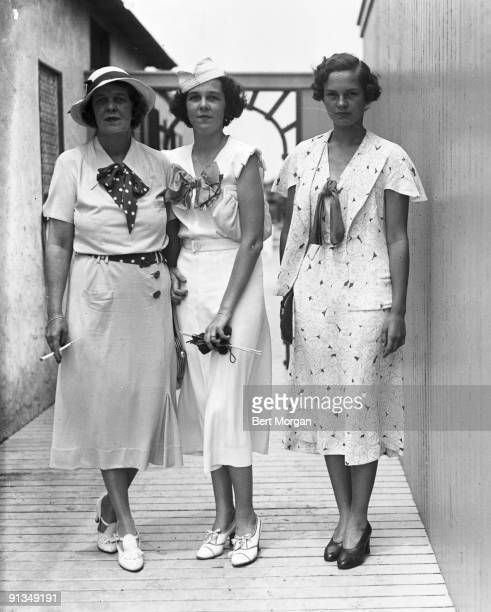 Mrs Charles Minot Amory Gloria Baker and Peggy Stevenson at the Dunes Club Narragansett Pier Rhode Island c1934