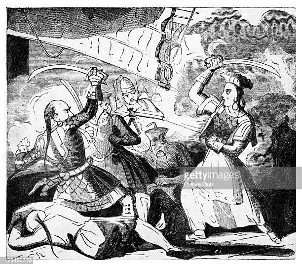 Mrs Ching wielding a sword c1810 Widow of pirate Admiral Ching who attacked the coasts of Annam and Cochin China but was killed by the inhabitants...