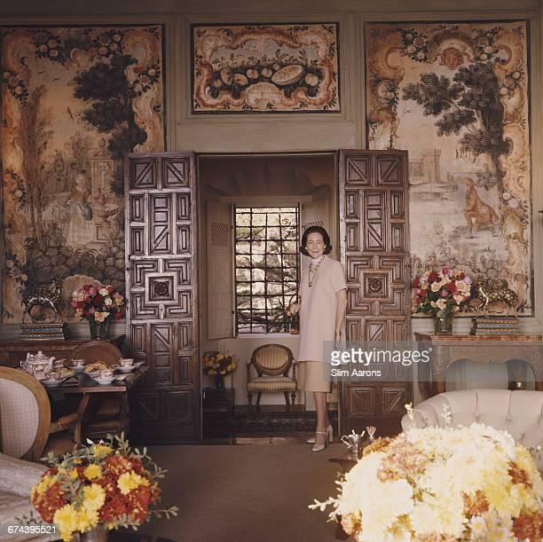 Mrs Christian de Guigne in her Mediterraneanstyle house in Pebble Beach California 1976