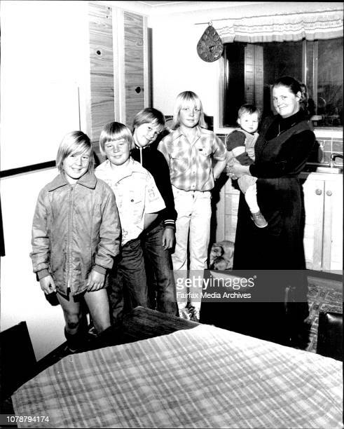Mrs Christine Gunn at home with her 5 sons today at Berowra HeightsL to R Twins Craig 11 Ward 11 Adam 12 Sean 14 and Grant 14months with mother...