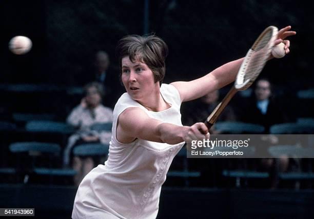 Mrs Christine Janes nee Christine Truman of Great Britain in action at Wimbledon circa June 1969