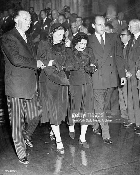 Mrs Claire Ruth Babe Ruth's widow is escorted by daughter and soninlaw Mr and Mrs Richard Flanders at St Patrick's Cathedral Funeral director John...