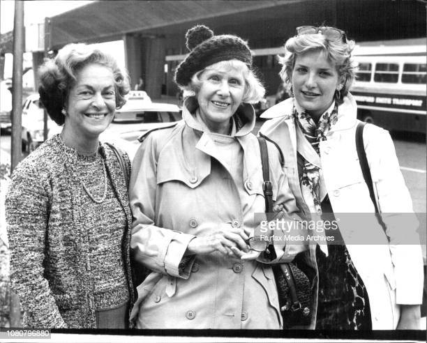 Mrs Clare Booth Luce and her niece Leslie Dingle pictured at Sydney airport in arrival from *****Mrs Clare Booth Luce widow of Henry R Luce II who...