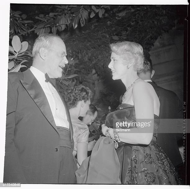 Mrs Clare Boothe Luce US Ambassador to Italy chats with Allen V Dulles head of the Central Intelligence Agency and brother of US State Secretary John...