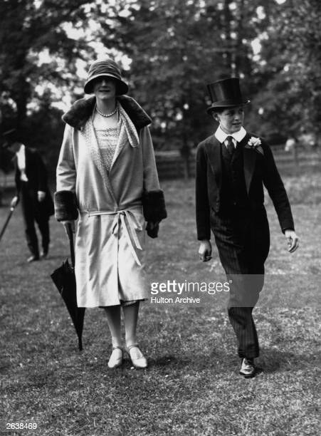 Mrs Clementine Winston Churchill and her son Randolph in the grounds of Eton public school. Original Publication: People Disc - HC0389