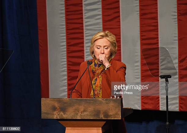 Mrs Clinton interrupted by coughing spasm during her speech Presidential candidate and former secretary of state Hillary Rodham Clinton spoke at...