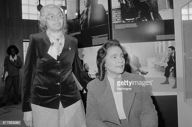 Mrs Coretta Scott King is joined by Mrs Rosa Parks mother fo civil rights movement who sparked the 1955 Montgomery by boycott by refusing to give up...