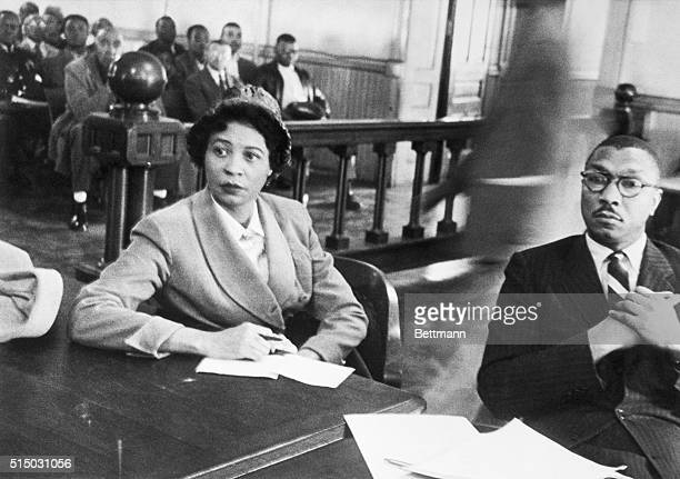 Mrs. Daisy Bates, State President of the Arkansas NAACP sits in the circuit court with one of her lawyers, Robert L. Carter of New York as her appeal...
