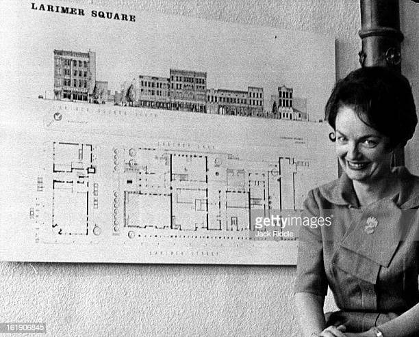 OCT 11 1965 OCT 16 1965 OCT 18 1965 Mrs Dana Crawford president of Larimer Square Inc is shown with architect's sketch of her milliondollar plan to...