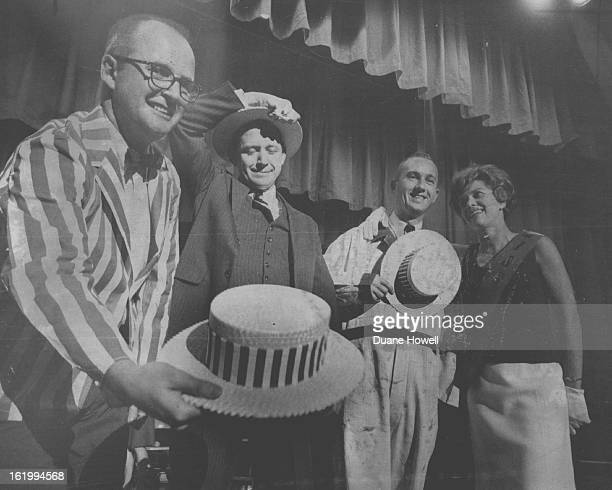 Mrs. David Basotti Questions Three Presidential Hopefuls; Denver attorneys Frank King, Larry Baker and Charles Matheson, left to right, portray GOP...
