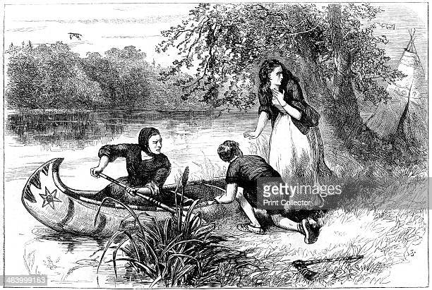 Mrs Dunstan escaping down the Merrimac late 17th century A print from Cassell's History of the United States by Edmund Ollier Volume I Cassell Petter...