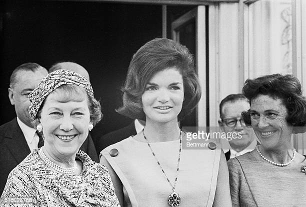 Mrs. Dwight D. Eisenhower and Mrs. Jacqueline Kennedy shown as the former arrived at the White House today, the First Lady and her predecessor, who...