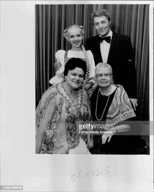 Mrs Edna Edgley with some of her Russian charges conductor Victor Gridin with one of the dancers and also sitting artistic director Ludmilla Zykina...