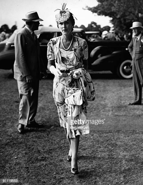 Mrs EF Hutton the former Marjorie Merriweather Post attends the 20 Goal Finals for polo at Southampton NY 1934