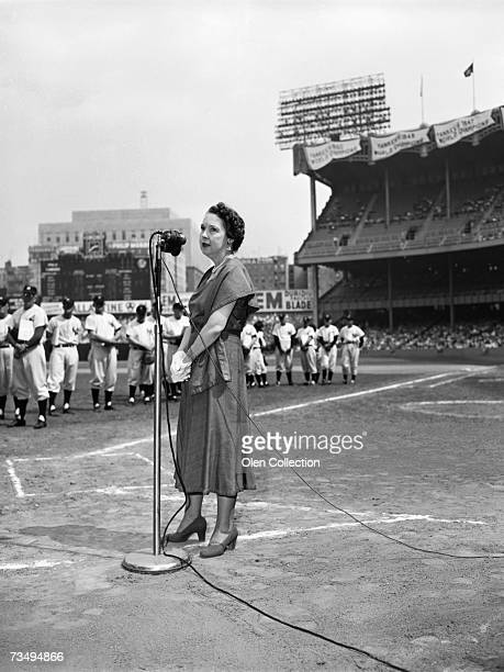 Mrs Eleanor Gehrig widow of former firstbaseman Lou Gehrig of the New York Yankees addresses the crowd prior to the annual Old Timer's Day festivties...