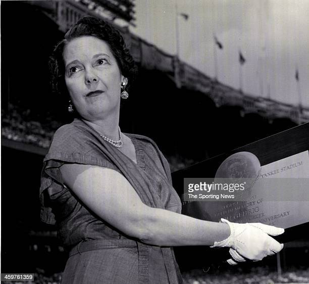 Mrs Eleanor Gehrig wife of New York Yankees Hall of Fame player Lou Gehrig at Old TImer's Day circa 1953 at Yankee Stadium in the Bronx borough of...