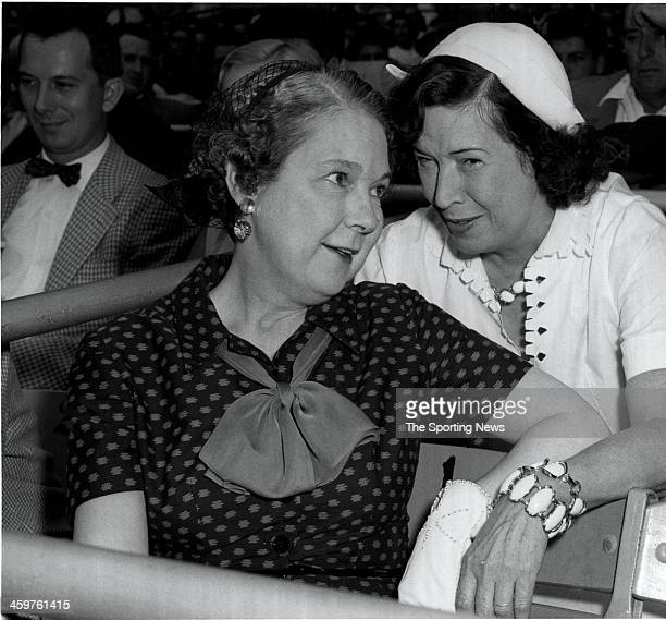 Mrs Eleanor Gehrig wife of New York Yankees Hall of Fame player Lou Gehrig and Mrs CLaire Ruth widow of New York Yankees Hall of Famer Babe Ruth at...