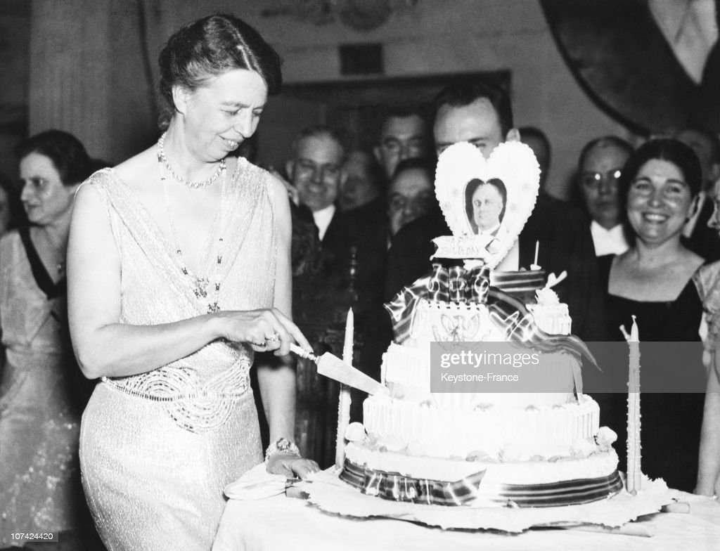 Mrs Eleanor Roosevelt Cutting The Birthday Cake Of His Husband President Franklin On January 30