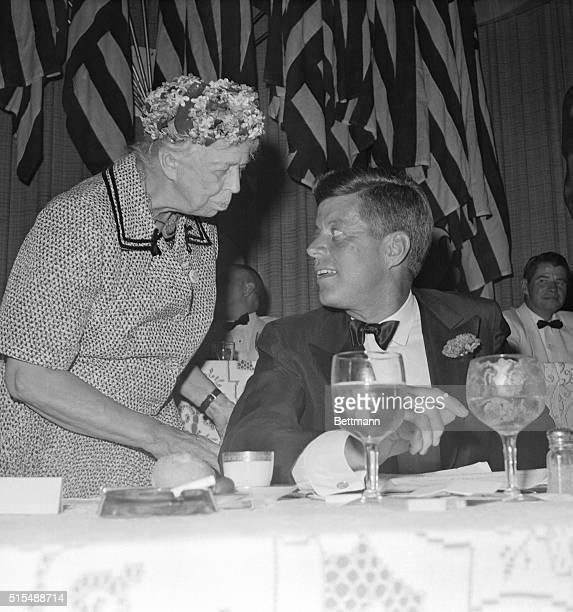 Mrs Eleanor Roosevelt gives her good wishes to John F Kennedy on the eve of the National Democratic Convention She has given her support to the...