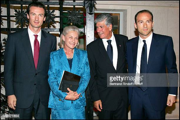 Mrs Elizabeth Badinter sons Simon and Benjamin and Maurice Levy inauguration dinner for the nave Marcel BleusteinBlanchet at the museum of ornamental...