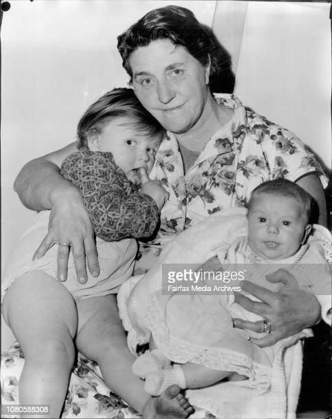 Mrs Elizabeth Norris with her two grandchildren Lindi Vi 2years old old amp Terry Lee 5 months old June 06 1962