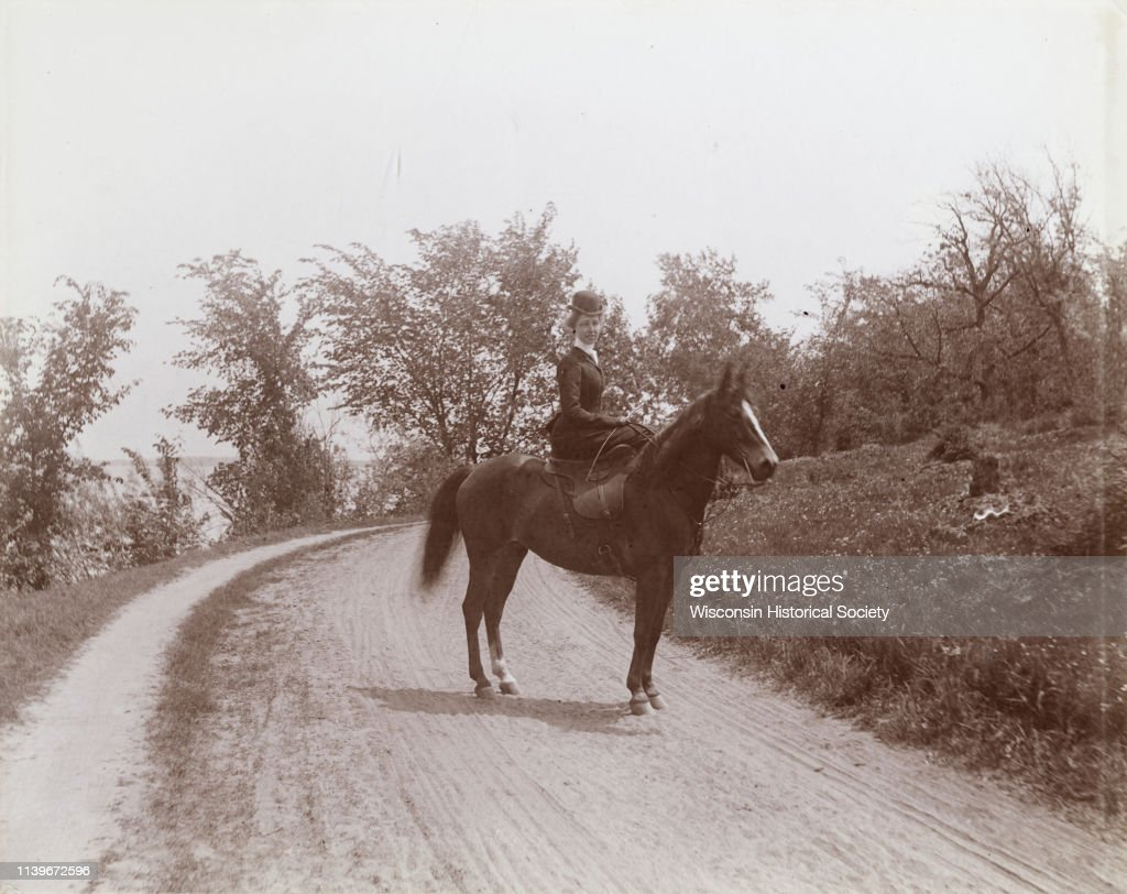 Mrs Elsie Stevens Poses On A Path By A Lake While Riding A Horse News Photo Getty Images