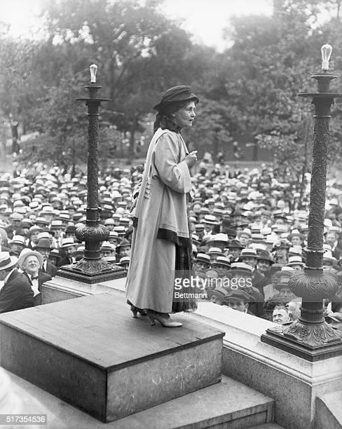 Mrs Emmaline Pankhurst addressing crowd of five thousand on historic Boston Common