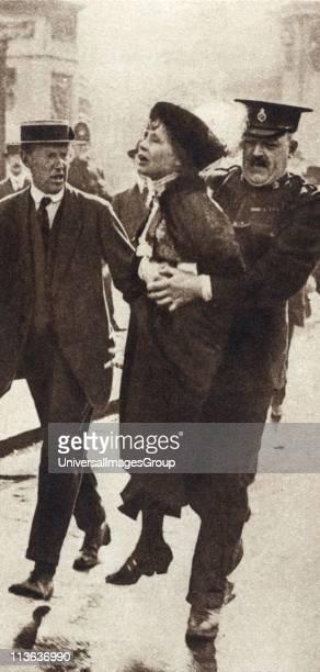 Mrs Emmeline Pankhurst English suffragette being arrested outside Buckingham Palace London 1914