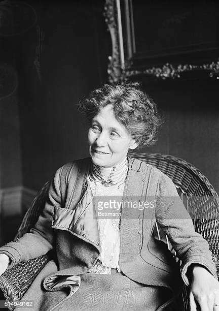 Mrs Emmeline Pankhurst the suffragette seen here seated and smiling in a wicker chair Undated photograph circa 1915