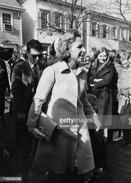 Mrs Ethel Kennedy arrives at Holy Trinity Catholic Church in Georgetown Washington DC for the wedding of her daughter Kathleen Kennedy to Harvard...