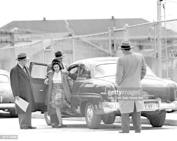 Mrs Ethel Rosenberg escorted by Deputy US marshal Anthony Pavone and Thomas Farley as she arrived at Sing Sing