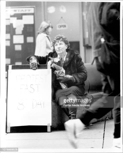 Mrs Eva Alister mother of one of the Ananda Marga called for the bomb conspiracy bombing in the 8th day of her hunger strike in Martin place May 08...
