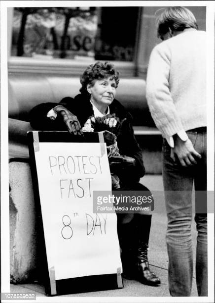 Mrs Eva Alister mother of one of the Ananda Marga called for the bomb conspiracy bombing in the 8th day of her hunger strike in Martin placeA...