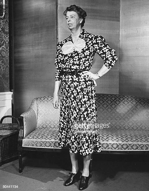 Mrs Franklin D Roosevelt modeling a versatile dress