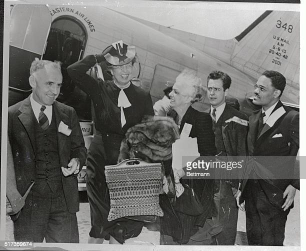 Mrs Franklin D Roosevelt one of the principal speakers at the Southern Conference for Human Welfare is shown stepping from a plane upon her recent...