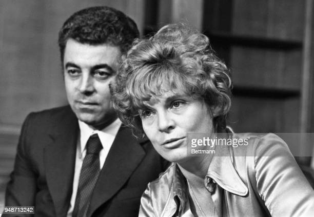 Mrs Gail Getty mother of J Paul Getty III hippie grandson of billionaire J Paul Getty seated near her lawyer Giovanni Jacovoni during a press...