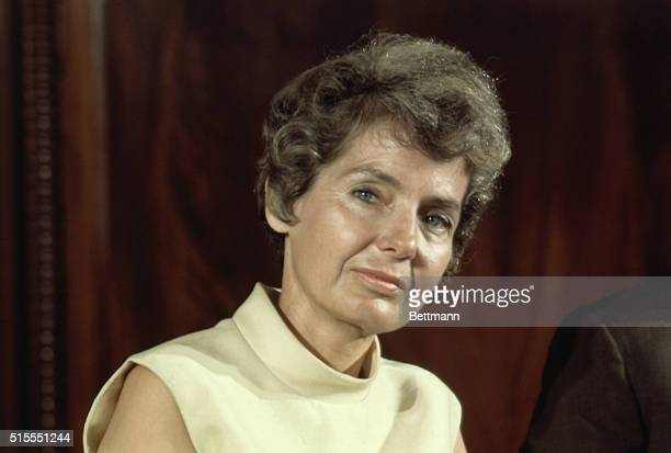 Mrs George McGovern wife of Senator George S McGovern DSD is shown as her husband announced his candidacy for the Democratic presidential nomination...
