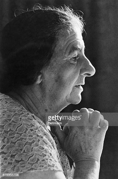 Mrs Golda Meir is seen in a pensive mood during a visit to Milwaukee Mrs Meir tearfully accepted the premiership of Israel and promised to form a new...
