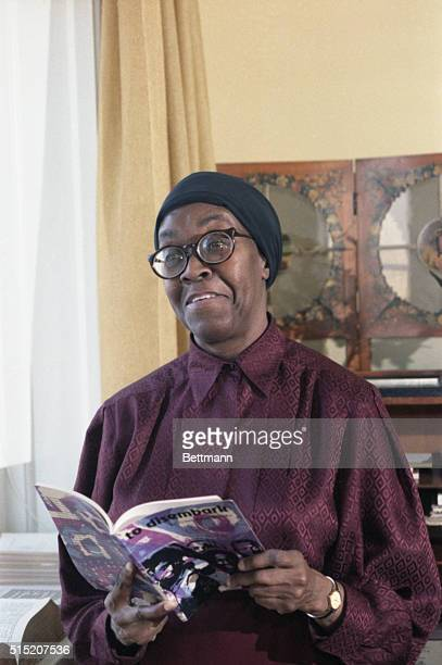 Mrs Gwendolyn Brooks poet seated in the poetry room at the Library of Congress