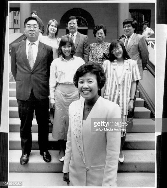 Mrs. Helen Sham-Ho, the first asian woman parliamentarian in Aust. Pictured with her family on her first day at parliament.Mrs. Sham-Ho in front.LtR)...