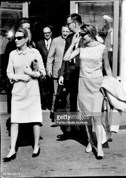 Mrs Henry Ford II and Charlotte Ford leaving Mascot today to return to US after Henry Ford's whirlwind tour of Australia May 11 1965