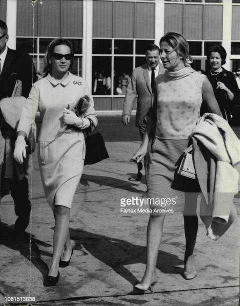 Mrs Henry Ford II and Charlotte Ford leaving Mascot today to return US after Henry Ford's whirlwind tour Australia May 11 1965