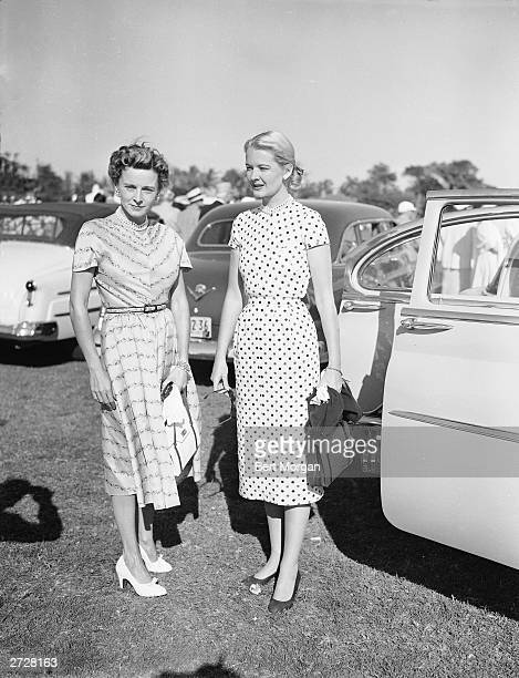 Mrs Henry Ford II and CZ Guest stand next to a car at the Gulfstream Polo Club Delray Florida 1952